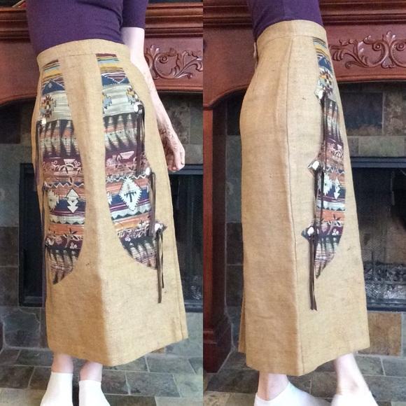 Vintage Dresses & Skirts - Southwestern Maxi Burlap (lined) skirt